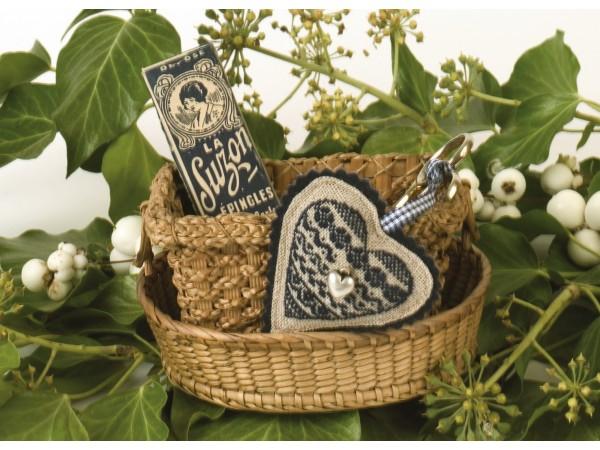 Coussin ciseaux coeur bleu